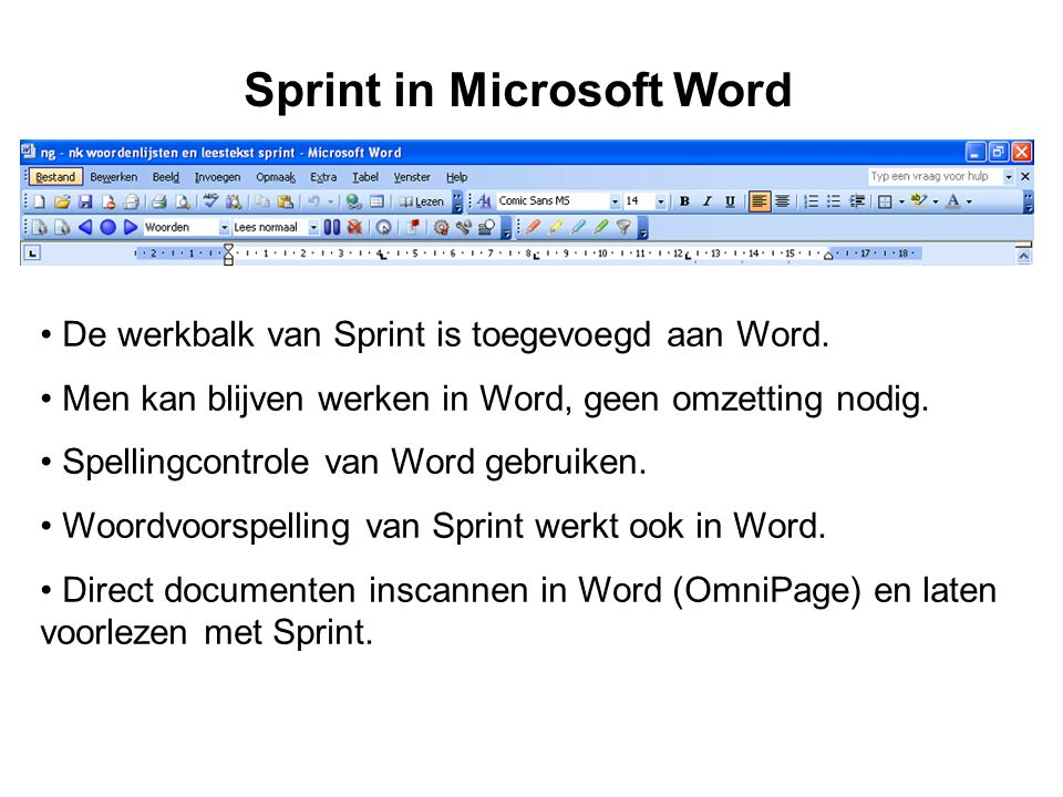 Sprint in Microsoft Word • De werkbalk van Sprint is toegevoegd aan Word.