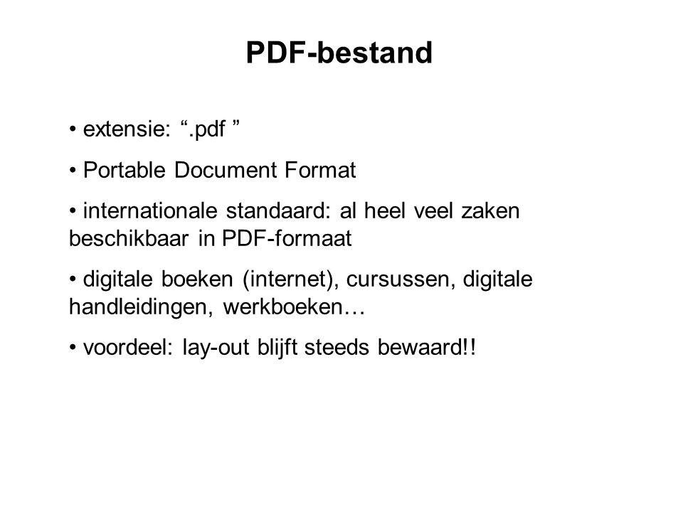 PDF-bestand • extensie: .pdf • Portable Document Format • internationale standaard: al heel veel zaken beschikbaar in PDF-formaat • digitale boeken (internet), cursussen, digitale handleidingen, werkboeken… • voordeel: lay-out blijft steeds bewaard!!