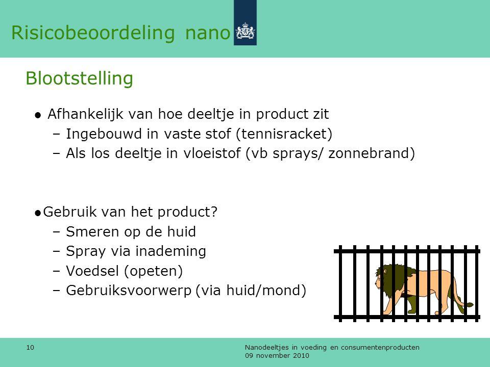 Nanodeeltjes in voeding en consumentenproducten 09 november 2010 10 ● Afhankelijk van hoe deeltje in product zit – Ingebouwd in vaste stof (tennisrack