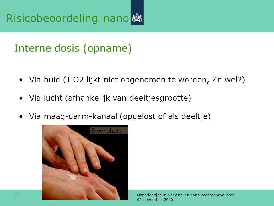 Nanodeeltjes in voeding en consumentenproducten 09 november 2010 11 •Via huid (TiO2 lijkt niet opgenomen te worden, Zn wel?) •Via lucht (afhankelijk v