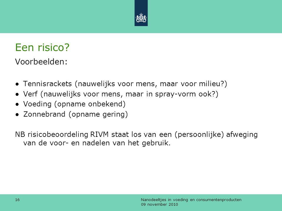 Nanodeeltjes in voeding en consumentenproducten 09 november 2010 16 Een risico? Voorbeelden: ●Tennisrackets (nauwelijks voor mens, maar voor milieu?)