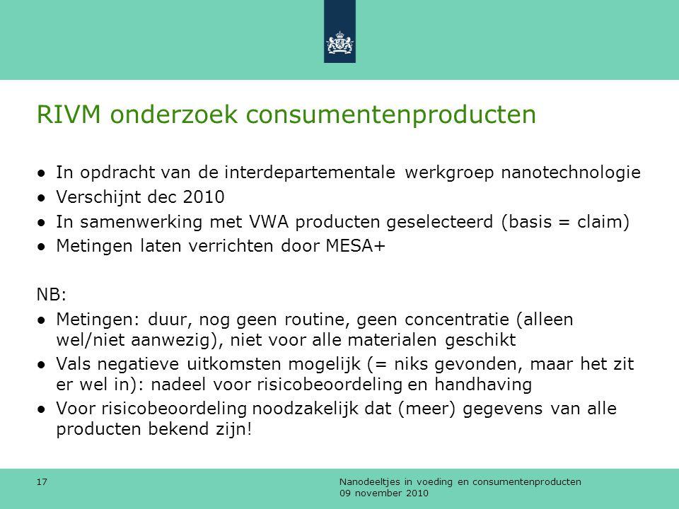 Nanodeeltjes in voeding en consumentenproducten 09 november 2010 17 RIVM onderzoek consumentenproducten ●In opdracht van de interdepartementale werkgr