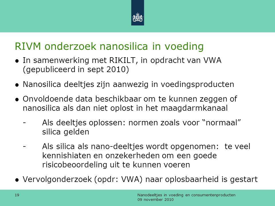 Nanodeeltjes in voeding en consumentenproducten 09 november 2010 19 RIVM onderzoek nanosilica in voeding ●In samenwerking met RIKILT, in opdracht van