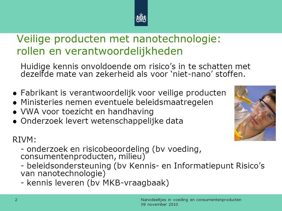 Nanodeeltjes in voeding en consumentenproducten 09 november 2010 3 RIVM en nanotechnologie ●Gefabriceerde, vrije, onoplosbare en niet afbreekbare nanodeeltjes, verwerkt in zgn.