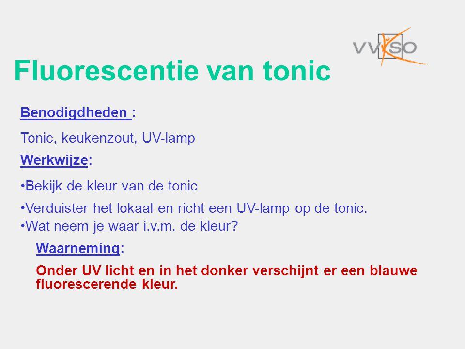 Fluorescentie van tonic Benodigdheden : Tonic, keukenzout, UV-lamp Werkwijze: •Bekijk de kleur van de tonic •Verduister het lokaal en richt een UV-lam