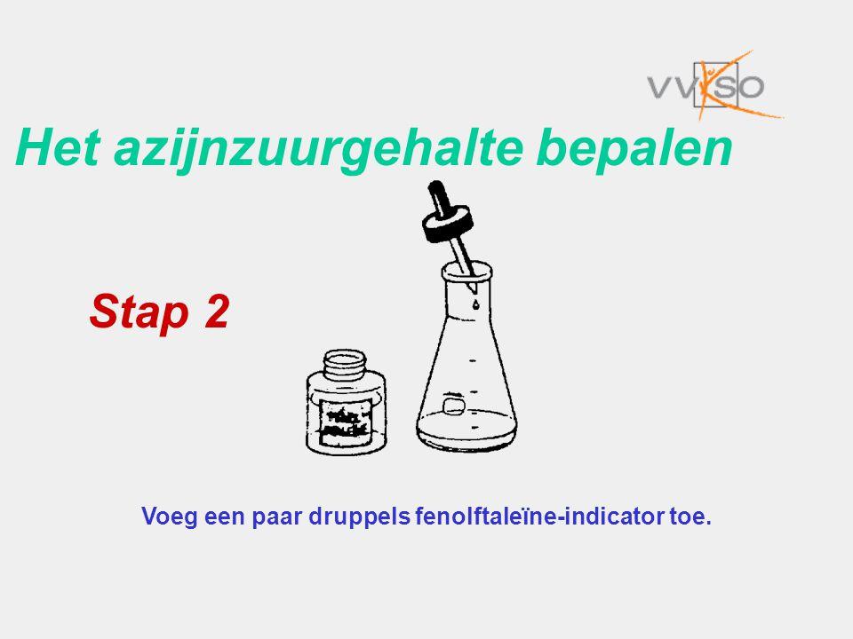 Het azijnzuurgehalte bepalen Voeg een paar druppels fenolftaleïne-indicator toe. Stap 2