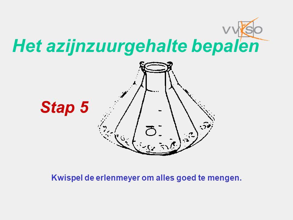 Het azijnzuurgehalte bepalen Kwispel de erlenmeyer om alles goed te mengen. Stap 5