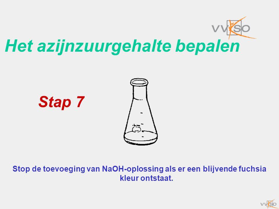 Het azijnzuurgehalte bepalen Stop de toevoeging van NaOH-oplossing als er een blijvende fuchsia kleur ontstaat. Stap 7
