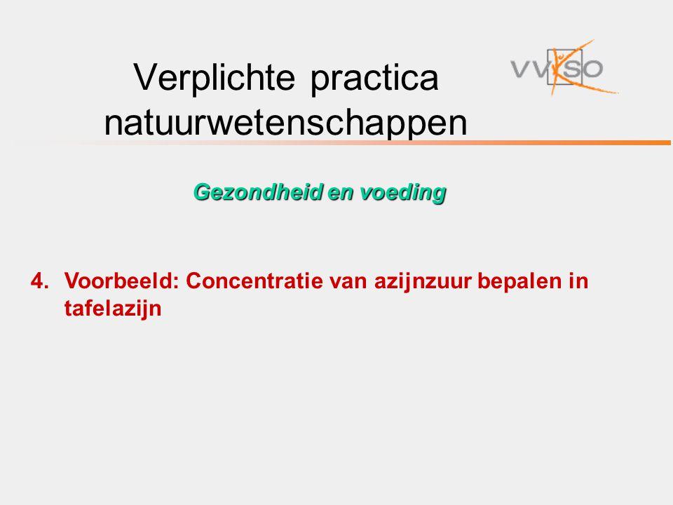 Verplichte practica natuurwetenschappen 4.Voorbeeld: Concentratie van azijnzuur bepalen in tafelazijn Gezondheid en voeding