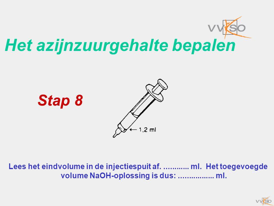 Het azijnzuurgehalte bepalen Lees het eindvolume in de injectiespuit af............. ml. Het toegevoegde volume NaOH-oplossing is dus:................