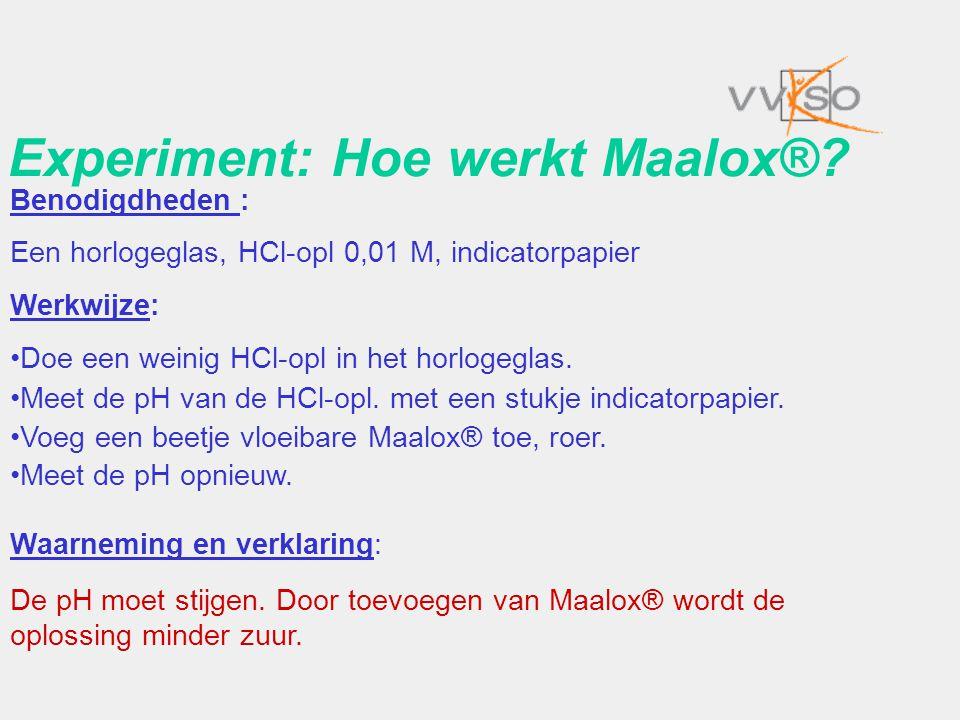 Experiment: Hoe werkt Maalox®? Benodigdheden : Een horlogeglas, HCl-opl 0,01 M, indicatorpapier Werkwijze: •Doe een weinig HCl-opl in het horlogeglas.