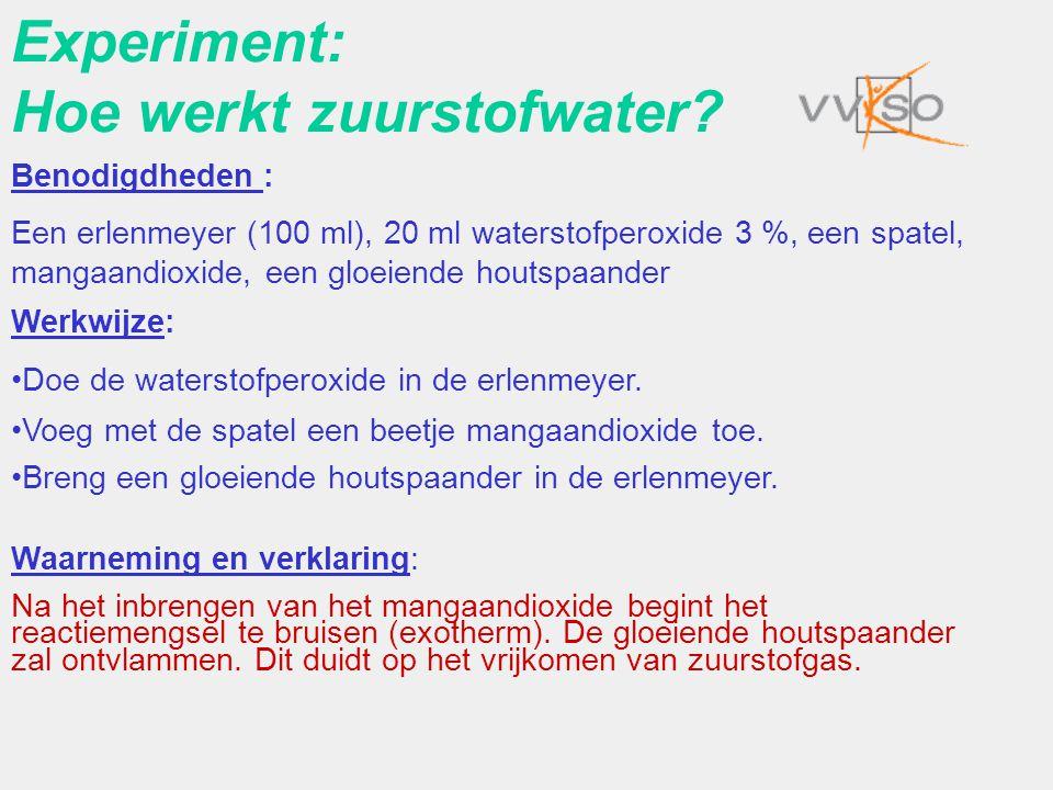 Experiment: Hoe werkt zuurstofwater? Benodigdheden : Een erlenmeyer (100 ml), 20 ml waterstofperoxide 3 %, een spatel, mangaandioxide, een gloeiende h