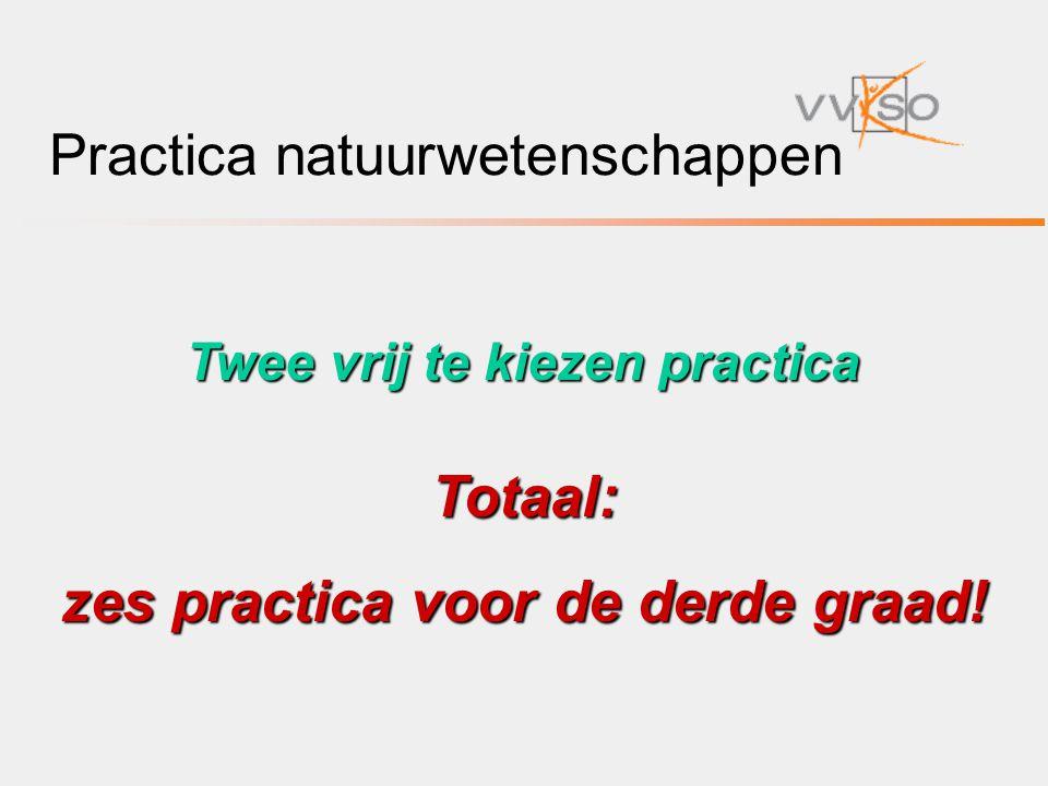 Practica natuurwetenschappen Twee vrij te kiezen practica Totaal: zes practica voor de derde graad!