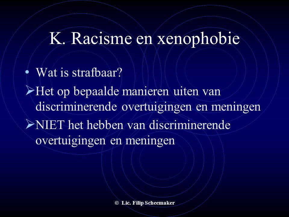 © Lic. Filip Scheemaker K. Racisme en xenophobie • Discriminatie : is een achterstelling; een negatieve beoordeling en behandeling van personen bij de