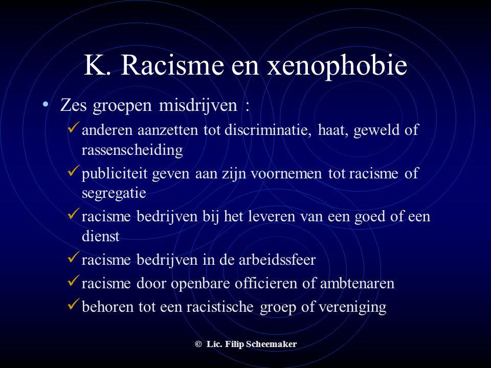 © Lic. Filip Scheemaker K. Racisme en xenophobie • Wat is strafbaar?  Het op bepaalde manieren uiten van discriminerende overtuigingen en meningen 