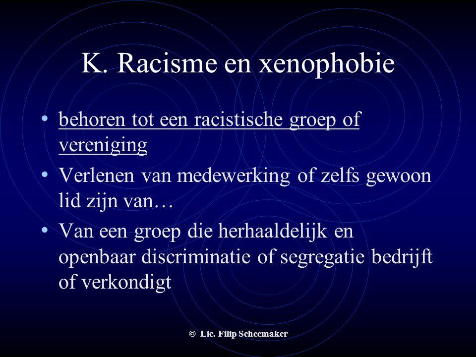 © Lic. Filip Scheemaker K. Racisme en xenophobie • racisme bij het leveren van een dienst of een goed • De reden van het racisme is onbelangrijk • Het