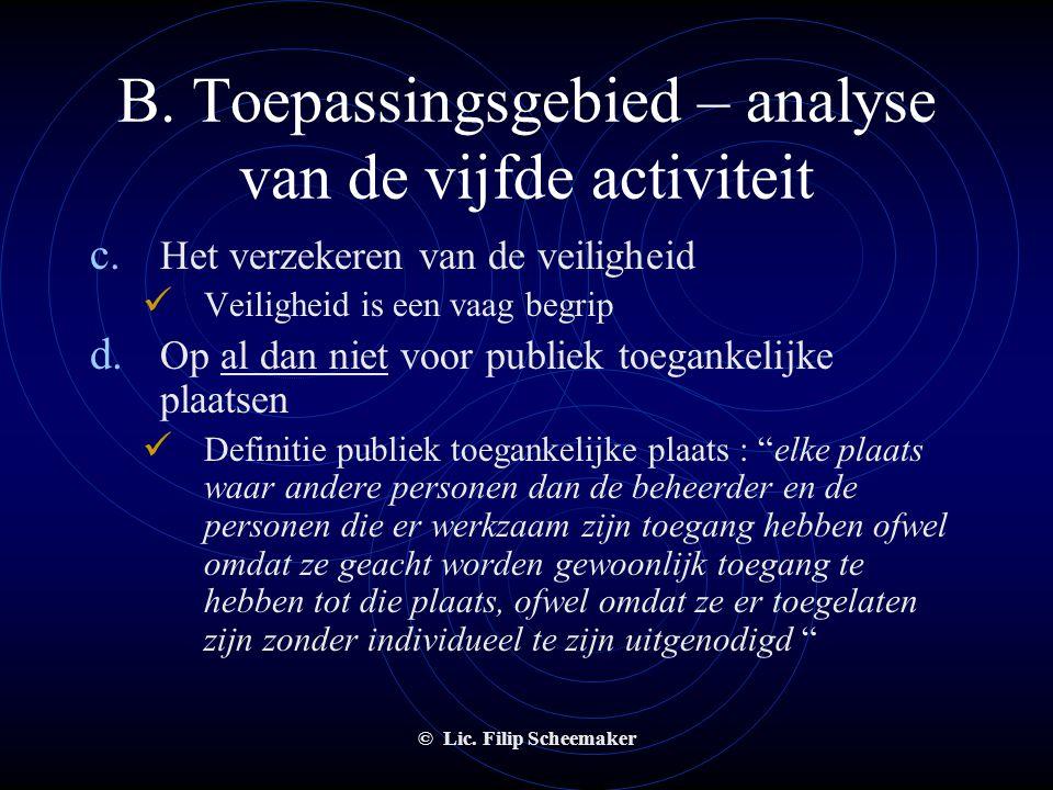 © Lic. Filip Scheemaker B. Toepassingsgebied – analyse van de vijfde activiteit a. Toezicht houden op personen  Geen bescherming van personen of goed