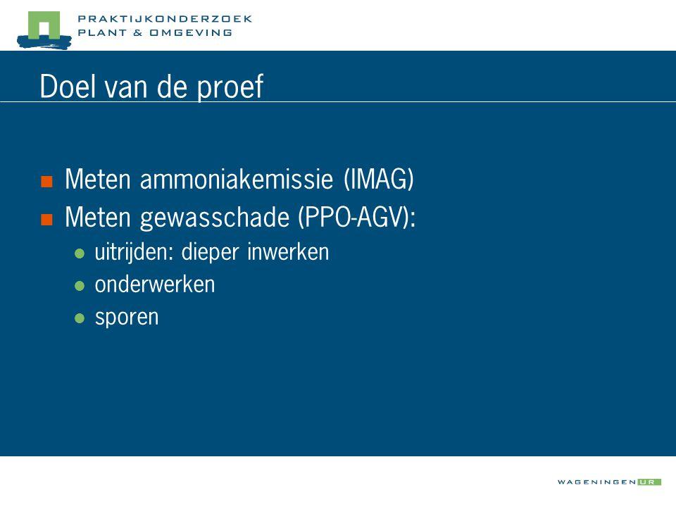 Doel van de proef  Meten ammoniakemissie (IMAG)  Meten gewasschade (PPO-AGV):  uitrijden: dieper inwerken  onderwerken  sporen