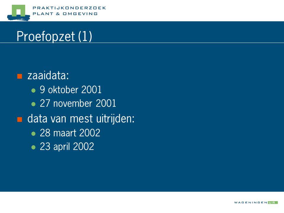 Proefopzet (1)  zaaidata:  9 oktober 2001  27 november 2001  data van mest uitrijden:  28 maart 2002  23 april 2002