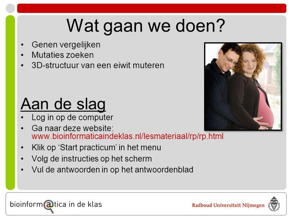 Aan de slag •Log in op de computer •Ga naar deze website: www.bioinformaticaindeklas.nl/lesmateriaal/rp/rp.html •Klik op 'Start practicum' in het menu