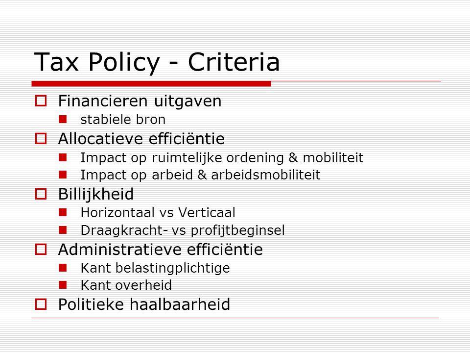 Tax Policy - Criteria  Financieren uitgaven  stabiele bron  Allocatieve efficiëntie  Impact op ruimtelijke ordening & mobiliteit  Impact op arbei