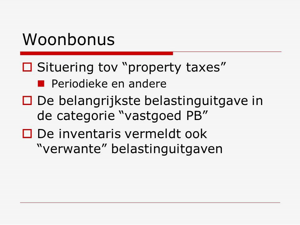 """Woonbonus  Situering tov """"property taxes""""  Periodieke en andere  De belangrijkste belastinguitgave in de categorie """"vastgoed PB""""  De inventaris ve"""