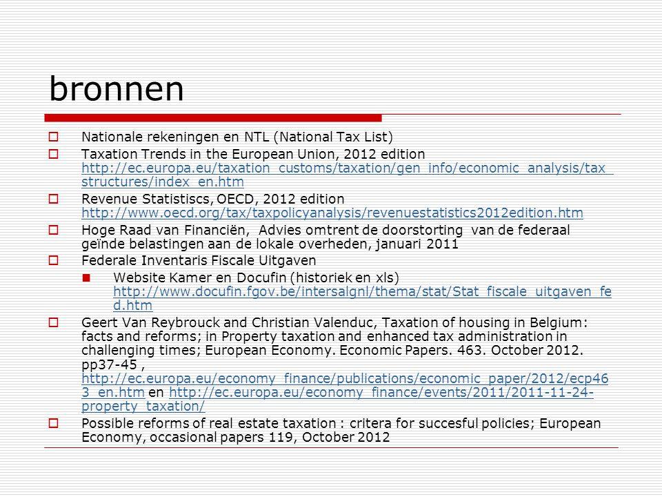 bronnen  Nationale rekeningen en NTL (National Tax List)  Taxation Trends in the European Union, 2012 edition http://ec.europa.eu/taxation_customs/t