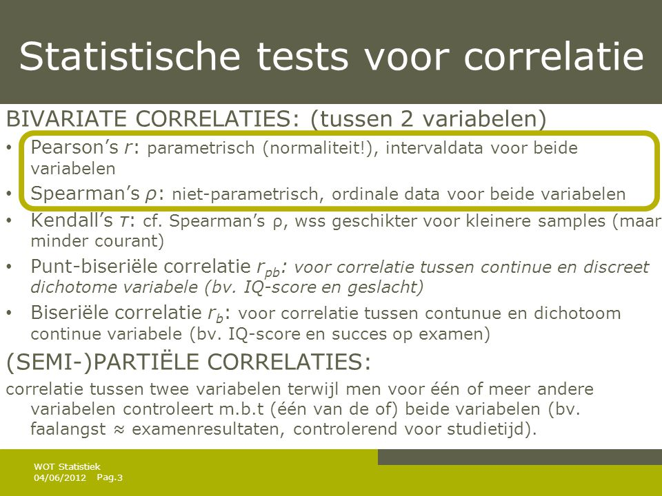 Pag. Correlaties in SPSS 04/06/20124 WOT Statistiek  Analyze/correlate/bivariate…