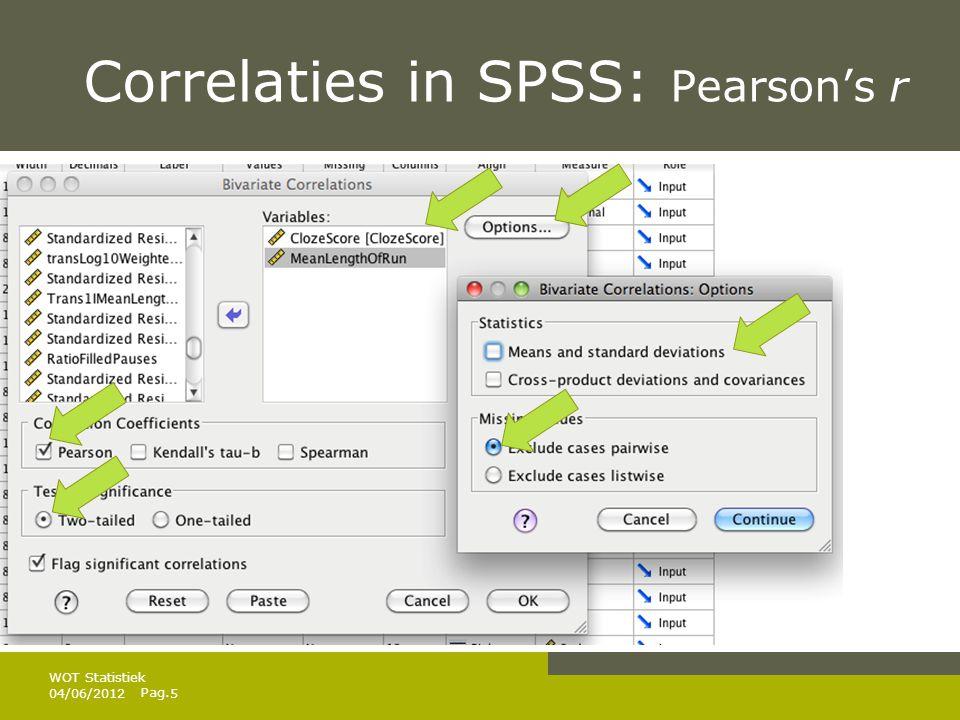 Pag. Correlaties in SPSS: Pearson's r 04/06/20126 WOT Statistiek