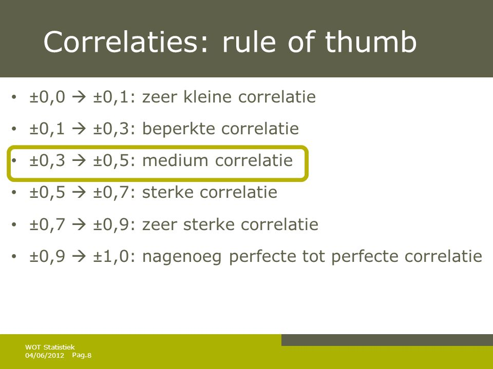 Pag. Correlaties: rule of thumb • ±0,0  ±0,1: zeer kleine correlatie • ±0,1  ±0,3: beperkte correlatie • ±0,3  ±0,5: medium correlatie • ±0,5  ±0,