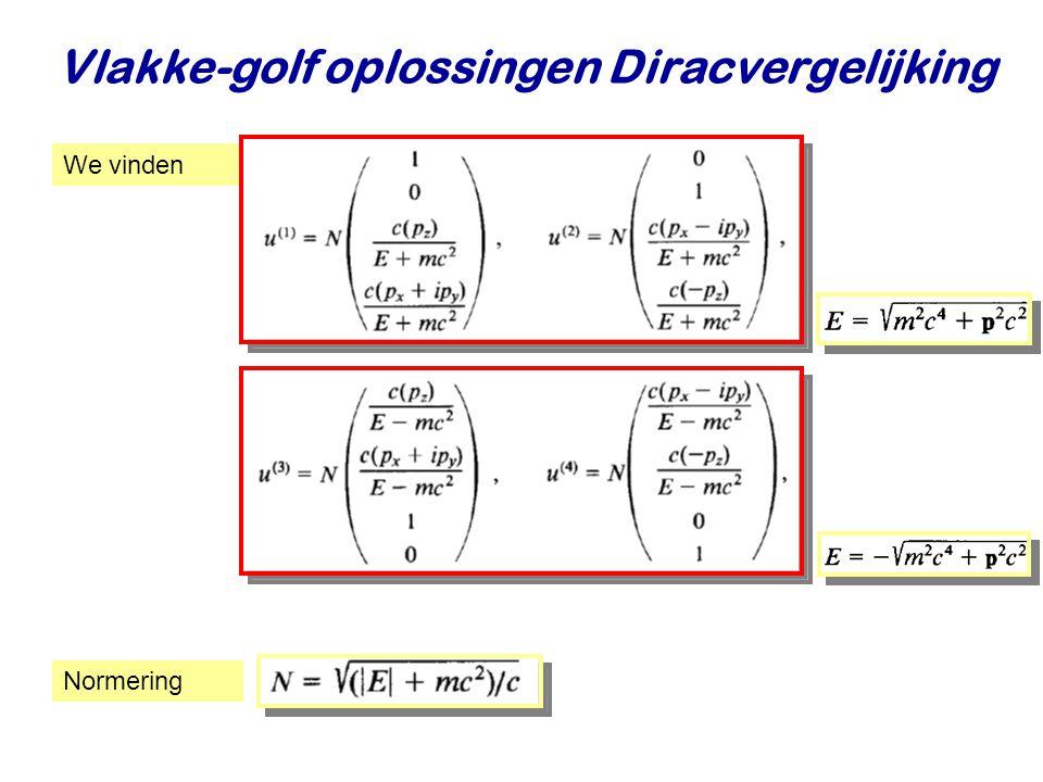Najaar 2009Jo van den Brand15 Vlakke-golf oplossingen Diracvergelijking We vinden Normering