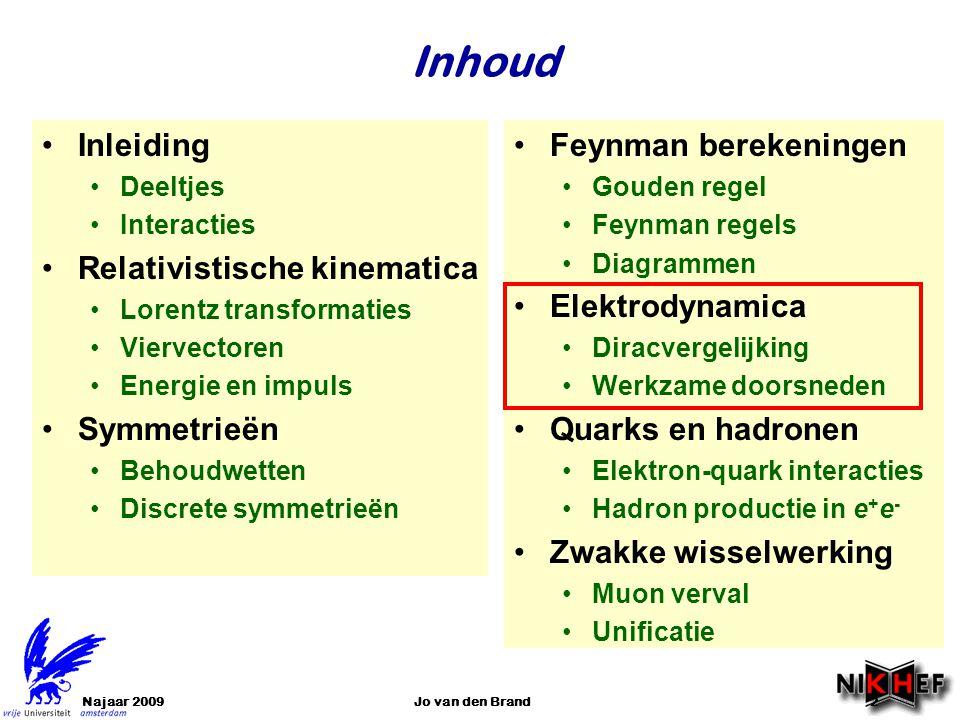 Najaar 2009Jo van den Brand2 •Inleiding •Deeltjes •Interacties •Relativistische kinematica •Lorentz transformaties •Viervectoren •Energie en impuls •S