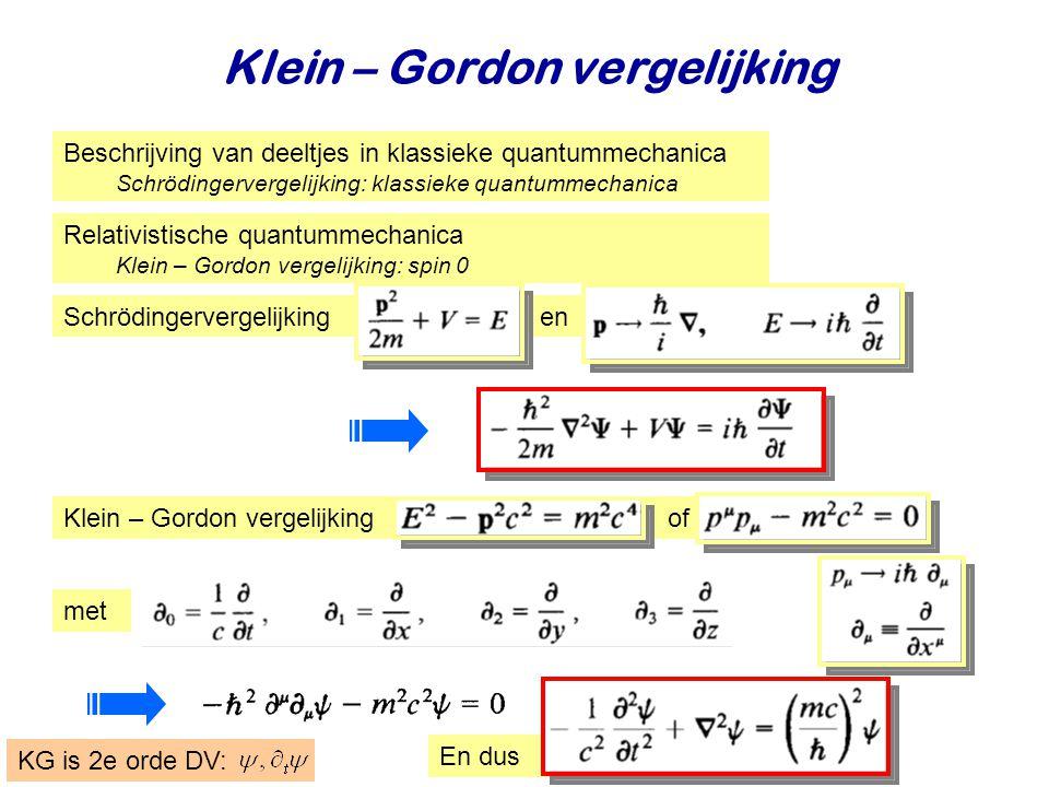 Najaar 2009Jo van den Brand3 Klein – Gordon vergelijking Beschrijving van deeltjes in klassieke quantummechanica Schrödingervergelijking: klassieke qu