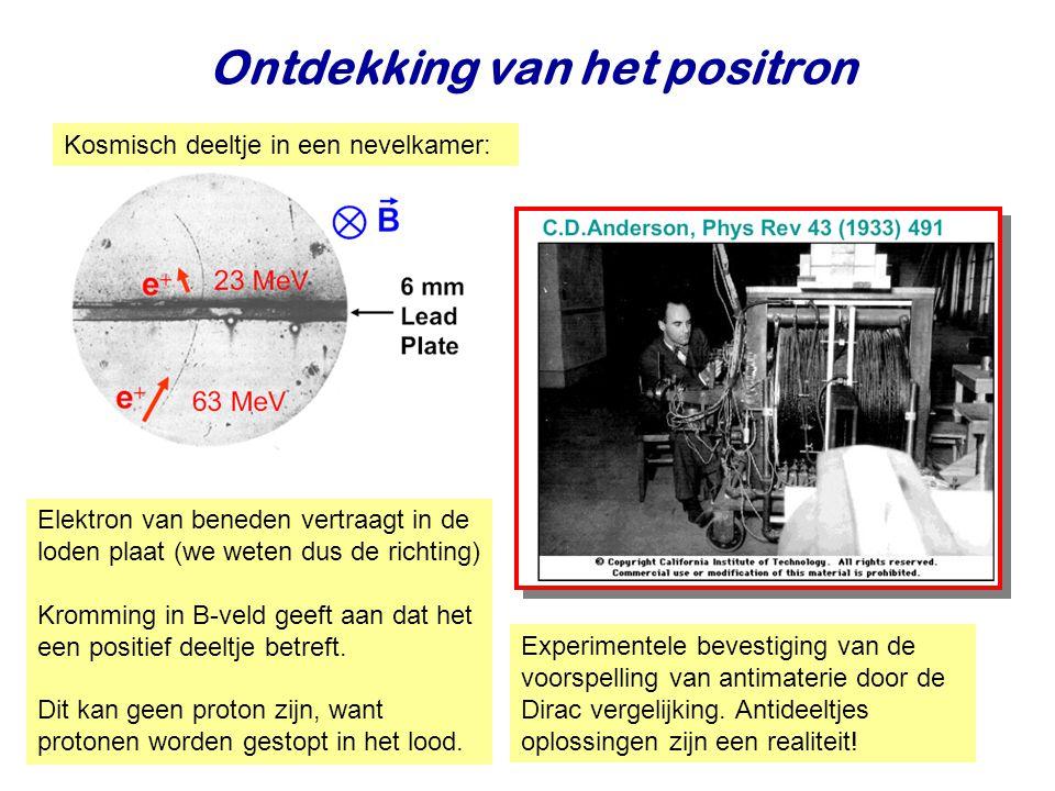 Najaar 2009Jo van den Brand9 Ontdekking van het positron Elektron van beneden vertraagt in de loden plaat (we weten dus de richting) Kromming in B-vel