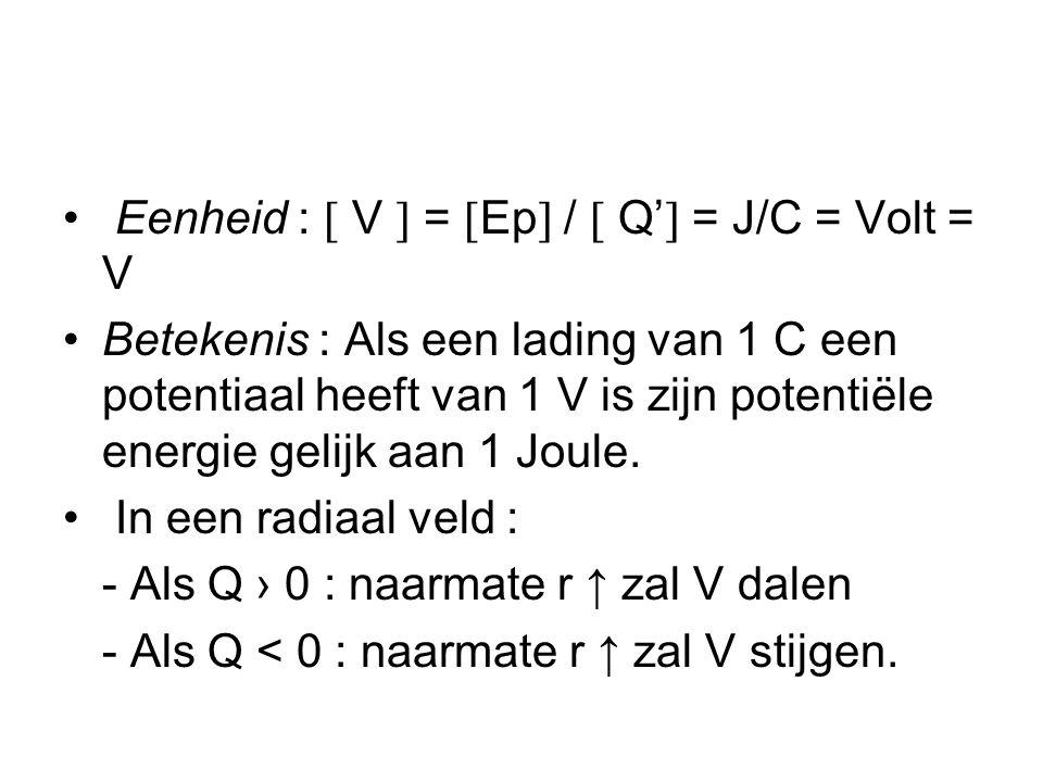 • Eenheid :  V  =  Ep  /  Q'  = J/C = Volt = V •Betekenis : Als een lading van 1 C een potentiaal heeft van 1 V is zijn potentiële energie gelijk aan 1 Joule.