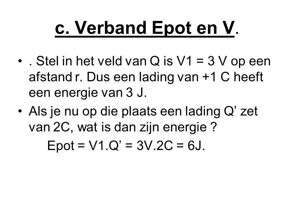 c.Verband Epot en V. •. Stel in het veld van Q is V1 = 3 V op een afstand r.