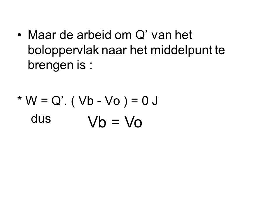 •Maar de arbeid om Q' van het boloppervlak naar het middelpunt te brengen is : * W = Q'.
