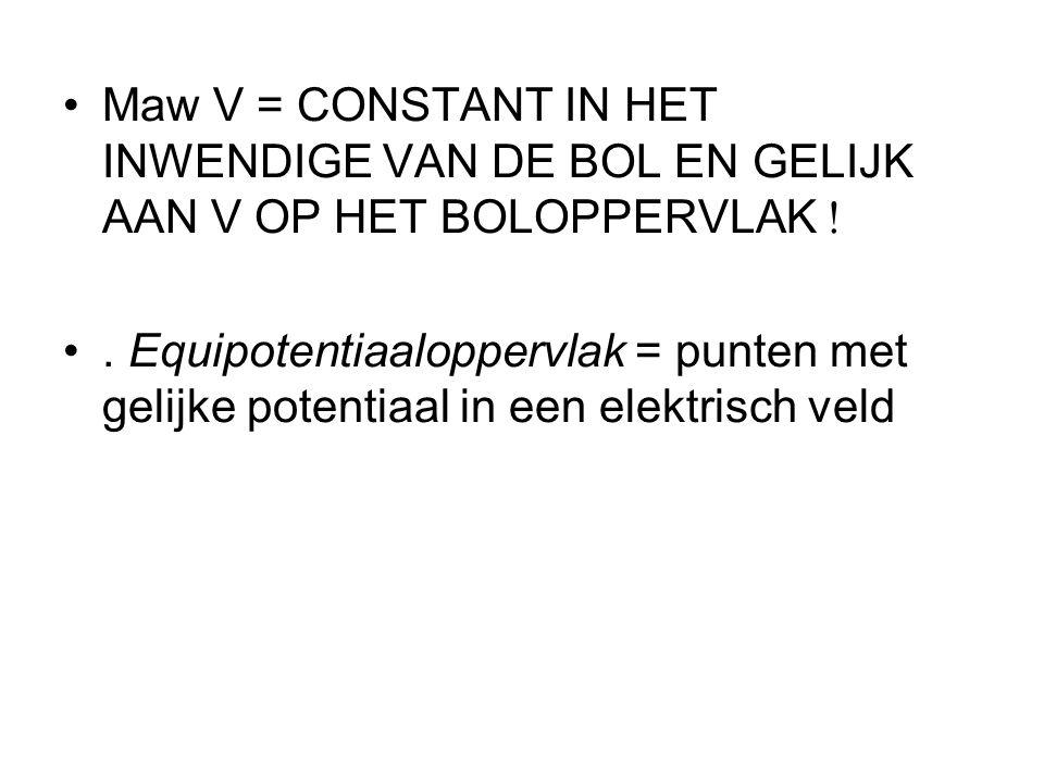 •Maw V = CONSTANT IN HET INWENDIGE VAN DE BOL EN GELIJK AAN V OP HET BOLOPPERVLAK  •.