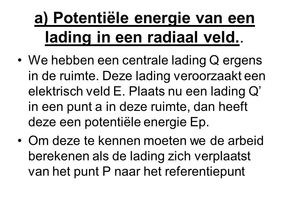 a) Potentiële energie van een lading in een radiaal veld..