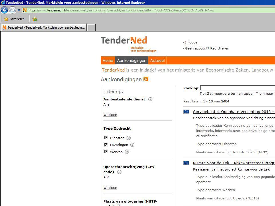 Spend van aanbestedende diensten BV.Nederland •Op jaarbasis ca.