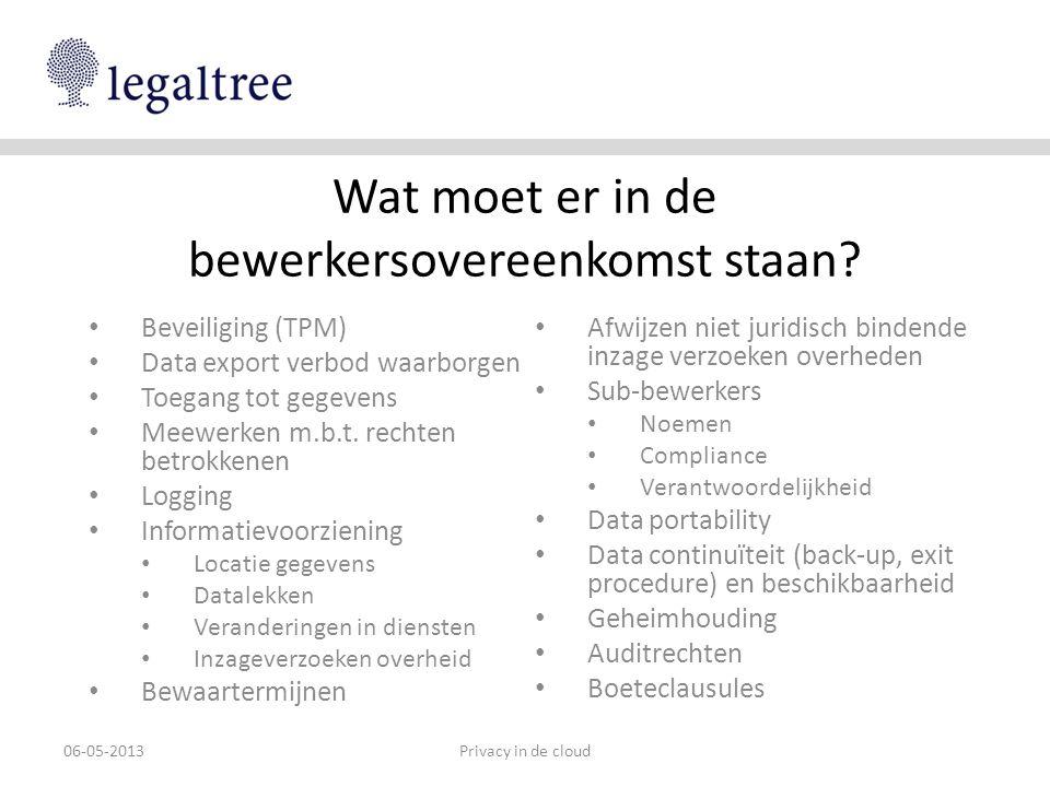 Wat moet er in de bewerkersovereenkomst staan? • Beveiliging (TPM) • Data export verbod waarborgen • Toegang tot gegevens • Meewerken m.b.t. rechten b