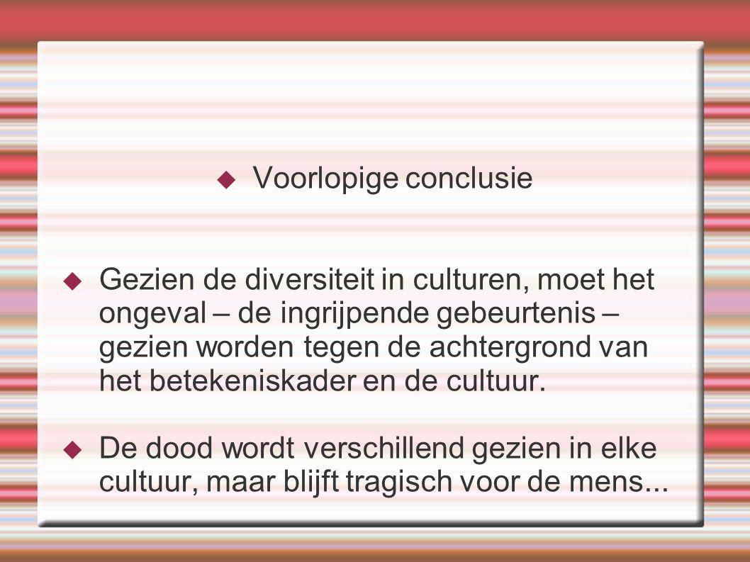  Voorlopige conclusie  Gezien de diversiteit in culturen, moet het ongeval – de ingrijpende gebeurtenis – gezien worden tegen de achtergrond van het