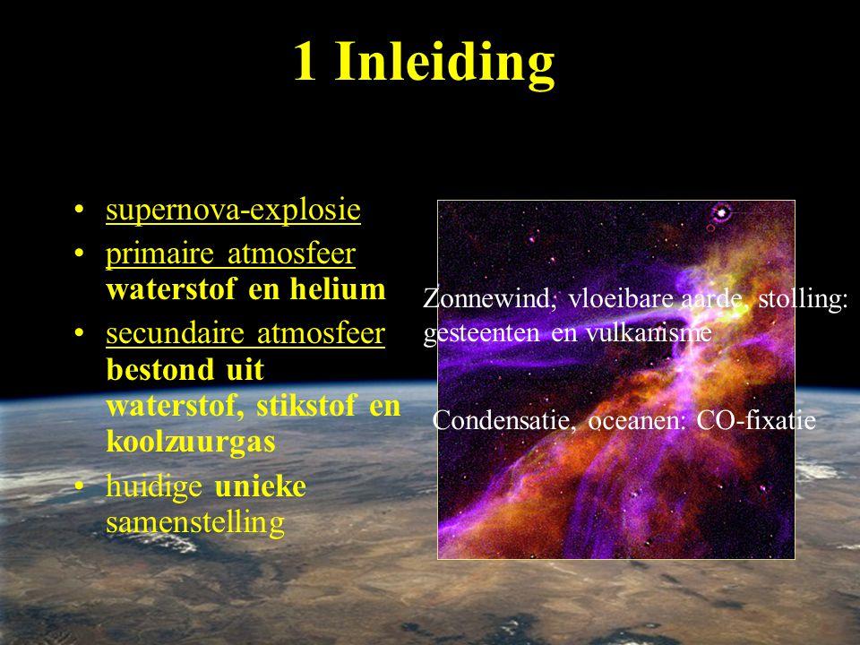 primaire atmosfeer: 1 Inleiding •supernova-explosie •primaire atmosfeer waterstof en helium •secundaire atmosfeer bestond uit waterstof, stikstof en k