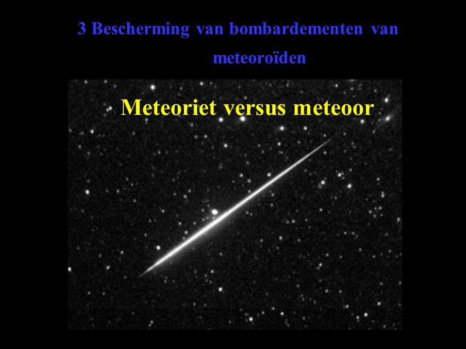 3 Bescherming van bombardementen van meteoroïden Meteoriet versus meteoor