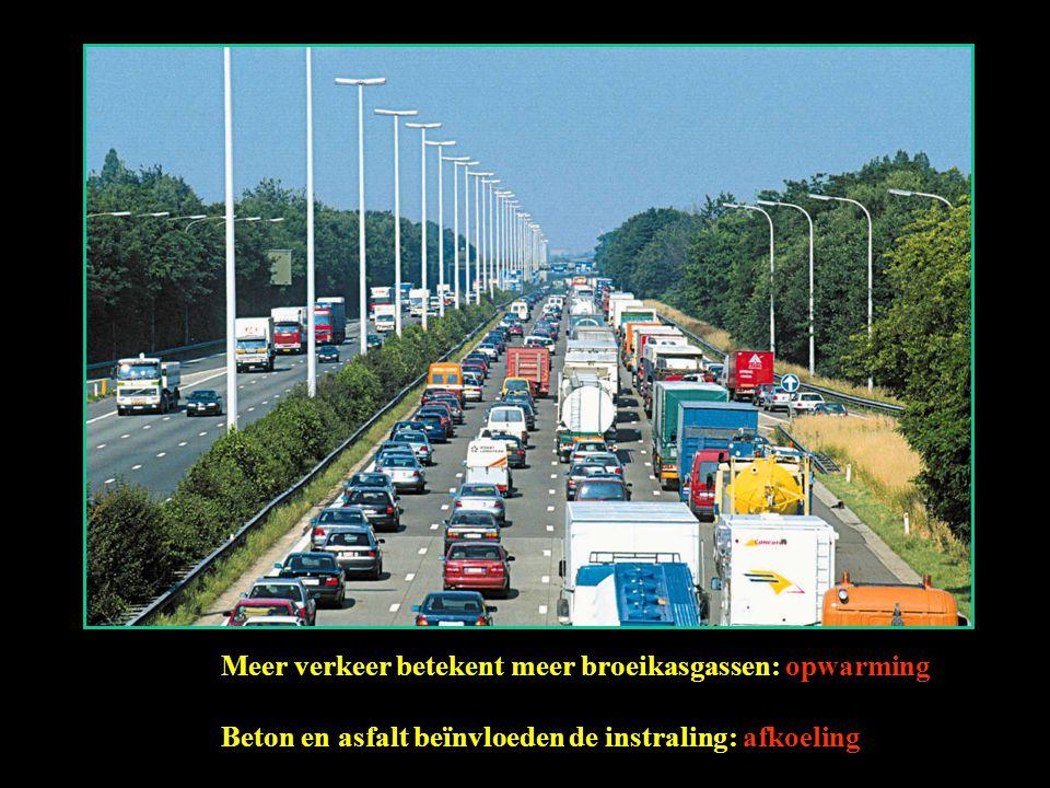 Meer verkeer betekent meer broeikasgassen: opwarming Beton en asfalt beïnvloeden de instraling: afkoeling