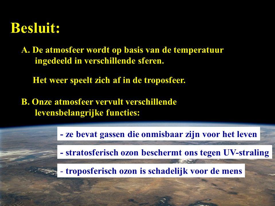 Besluit: A. De atmosfeer wordt op basis van de temperatuur ingedeeld in verschillende sferen. B. Onze atmosfeer vervult verschillende levensbelangrijk