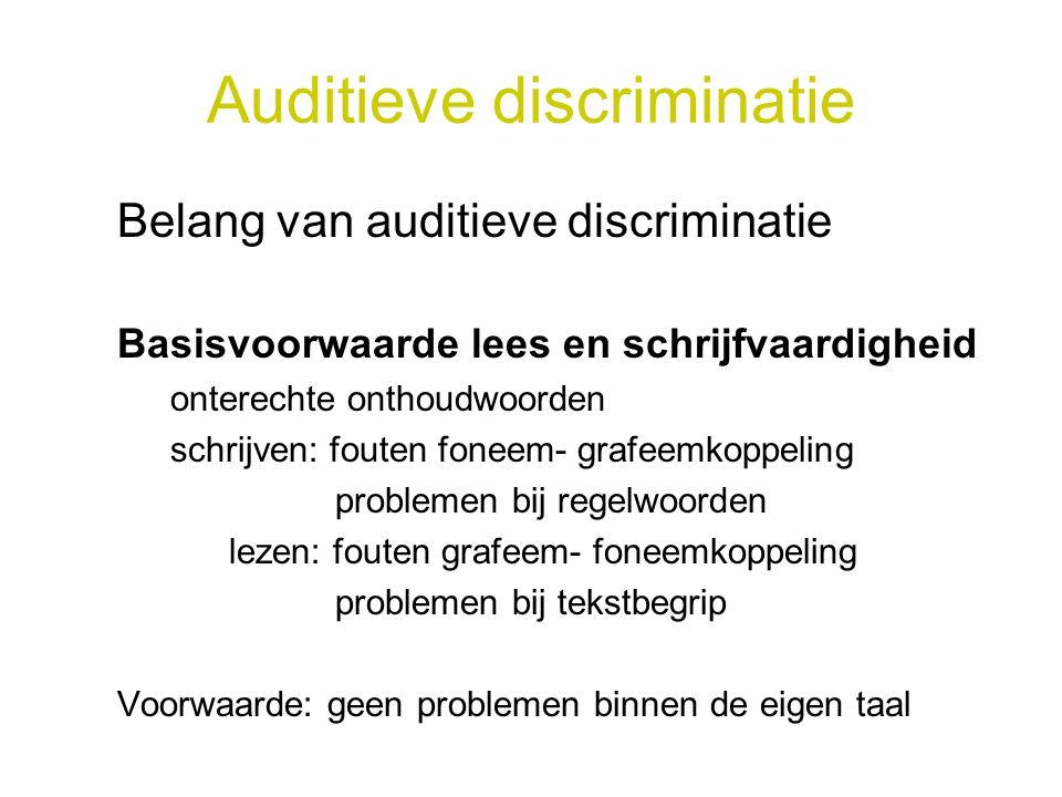 Auditieve discriminatie Belang van auditieve discriminatie Basisvoorwaarde lees en schrijfvaardigheid onterechte onthoudwoorden schrijven: fouten fone