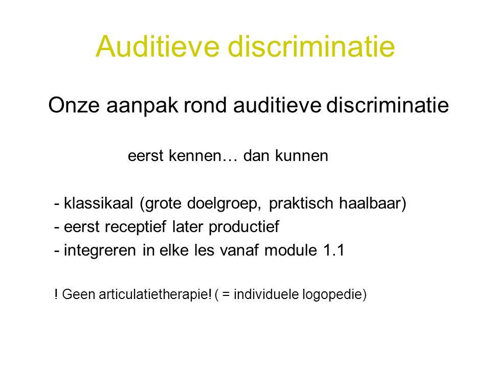 Auditieve discriminatie Onze aanpak rond auditieve discriminatie eerst kennen… dan kunnen - klassikaal (grote doelgroep, praktisch haalbaar) - eerst r