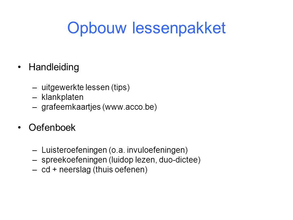 Opbouw lessenpakket •Handleiding –uitgewerkte lessen (tips) –klankplaten –grafeemkaartjes (www.acco.be) •Oefenboek –Luisteroefeningen (o.a. invuloefen