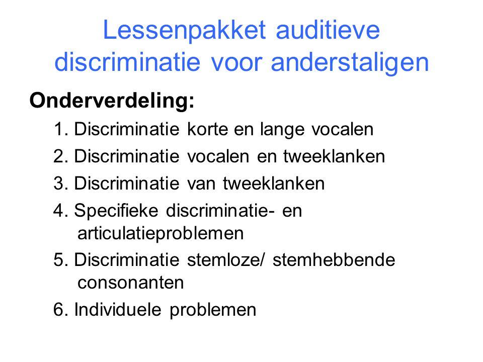 Lessenpakket auditieve discriminatie voor anderstaligen Onderverdeling: 1. Discriminatie korte en lange vocalen 2. Discriminatie vocalen en tweeklanke